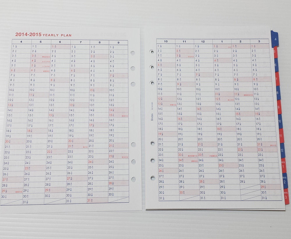 Bindex 2014年4月始まり A5 リフィル 月間ダイアリー AD056 年間計画表